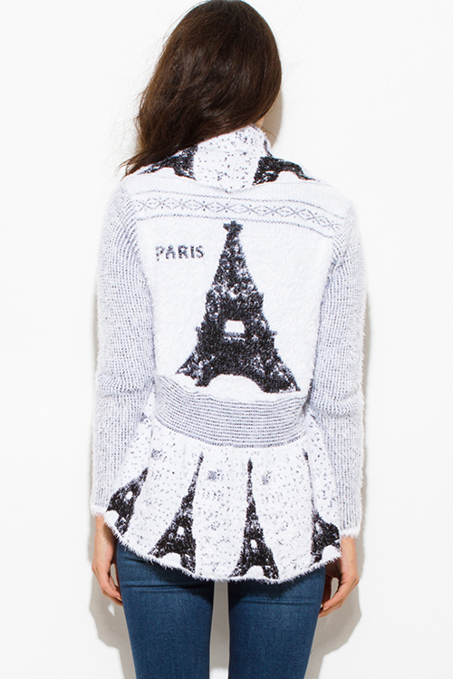 Cute cheap white textured graphic print open front embellished cocoon fuzzy knit sweater cardigan top