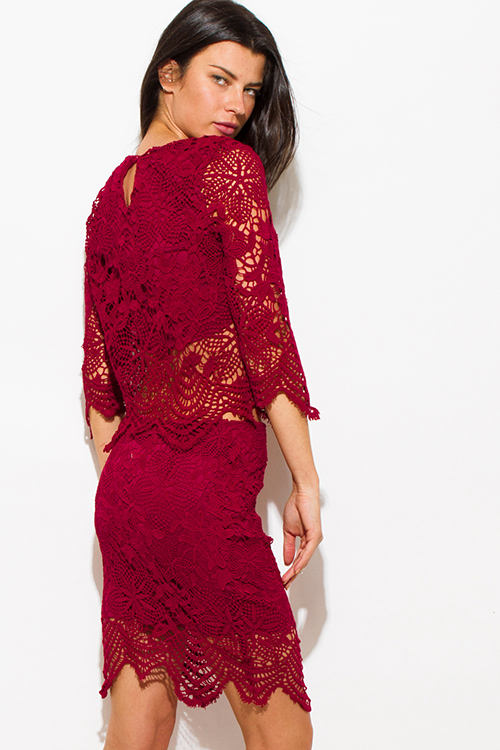 Cute cheap wine burgundy red crochet lace scallop hem fitted cocktail party pencil skirt