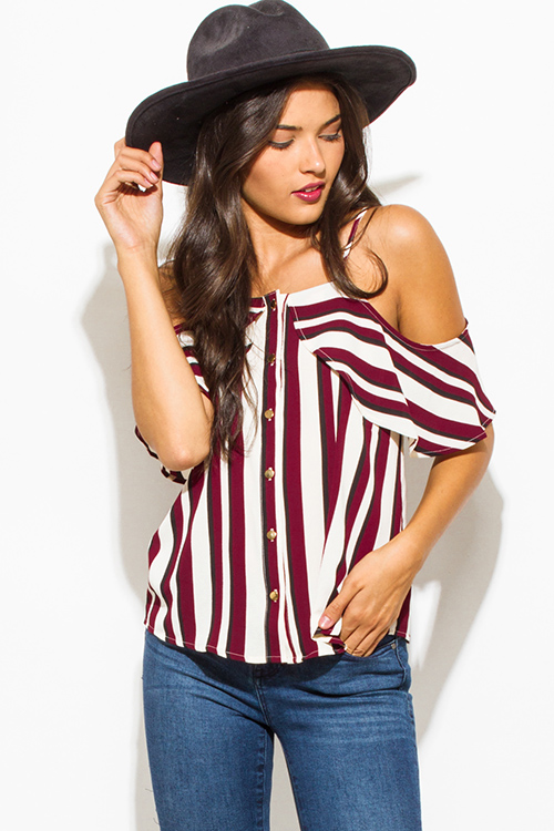 Cute cheap wine burgundy red multicolor stripe print ruffle cold shoulder golden button up boho blouse tank top