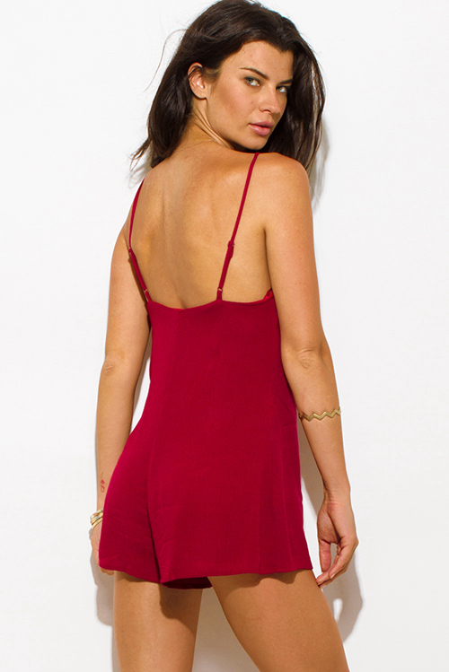 Cute cheap wine burgundy red rayon gauze sweetheart v neck criss cross caged neck spaghetti strap romper playsuit jumpsuit