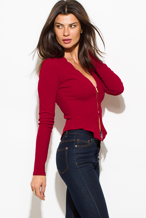 Cute cheap wine red burgundy textured long sleeve asymmetrical hem zip up fitted jacket top