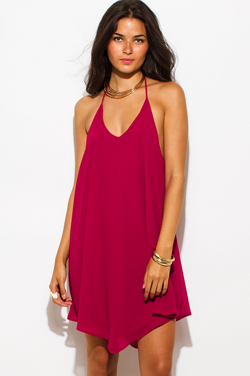 Cute cheap wine red chiffon halter backless asymmetrical hem mini cocktail party dress