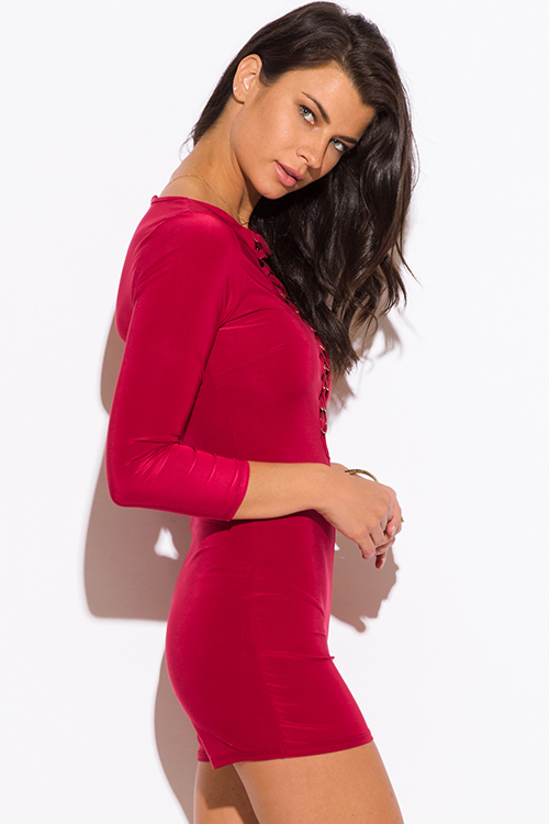 Cute cheap wine red deep v neck laceup quarter sleeve fitted bodycon clubbing romper jumpsuit
