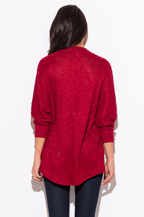 Cute cheap wine red embellished dolman sleeve cardigan sweater top