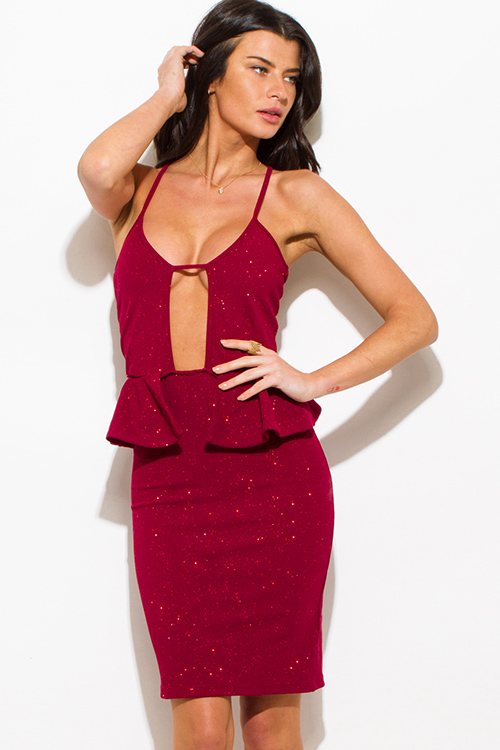 Cute cheap wine red shimmer cut out sweetheart neck peplum pencil cocktail party metallic club midi dress