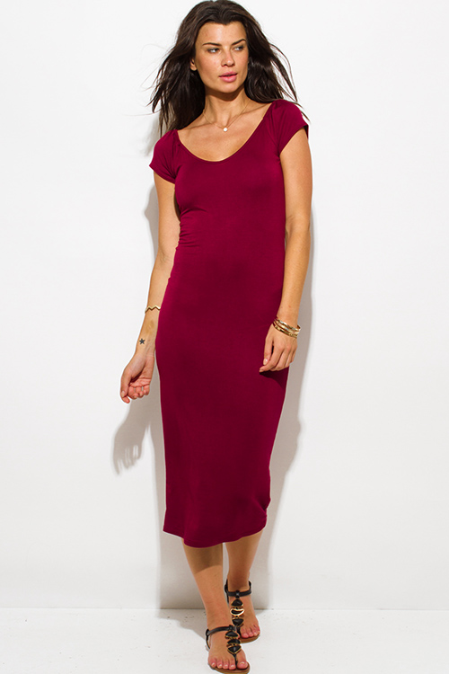Cute cheap wine red jersey cap sleeve off shoulder bodycon fitted midi dress