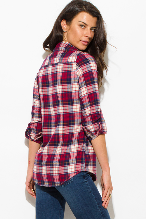 Cute cheap wine red multicolor plaid flannel long sleeve button up blouse top