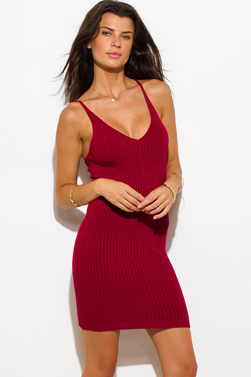 Cute cheap wine red ribbed knit thin strap v neck open back fitted bodycon sweater midi dress