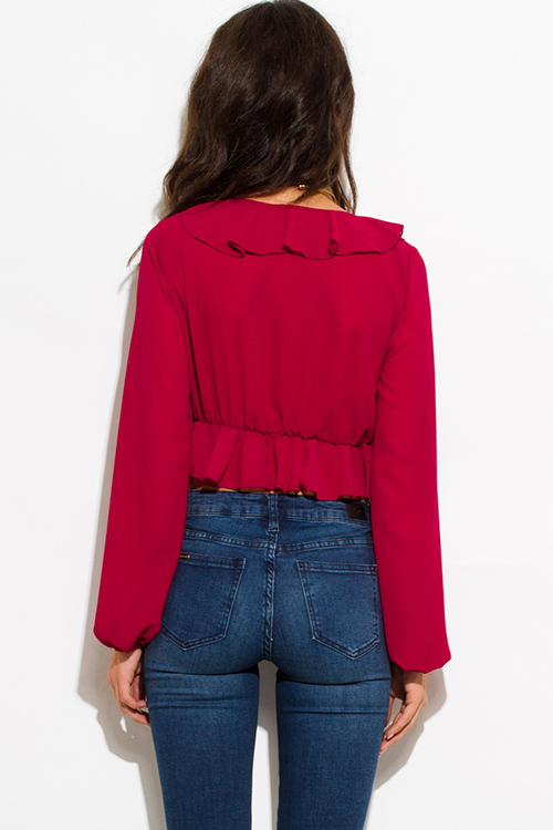 Cute cheap wine red semi sheer chiffon deep v neck ruffled blouson sleeve crop blouse top