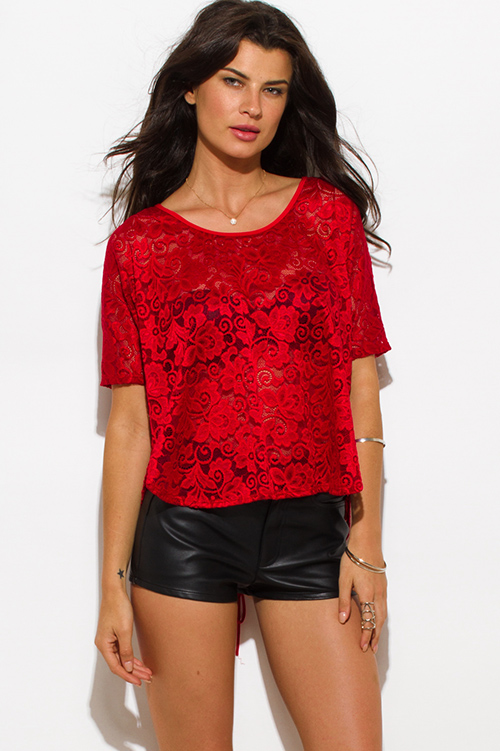 Cute cheap wine red sheer lace eyelet laceup back dolman sleeve blouse top
