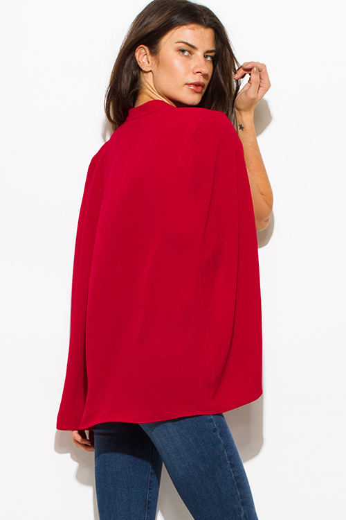 Cute cheap wine red textured fabric open front cape cropped blazer top