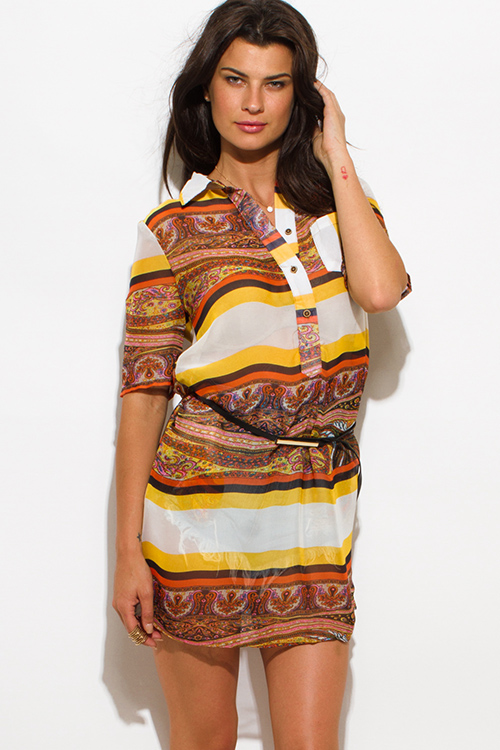 Cute cheap yellow brown multicolor paisley striped abstract print chiffon belted tunic blouse shirt dress