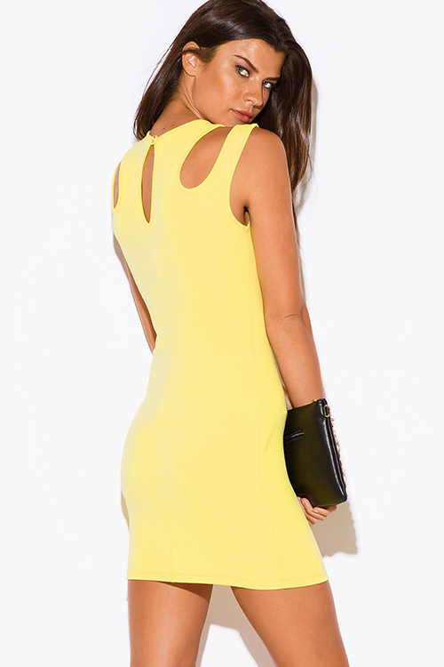 Cute cheap yellow cut out cold shoulder clubbing fitted party mini dress