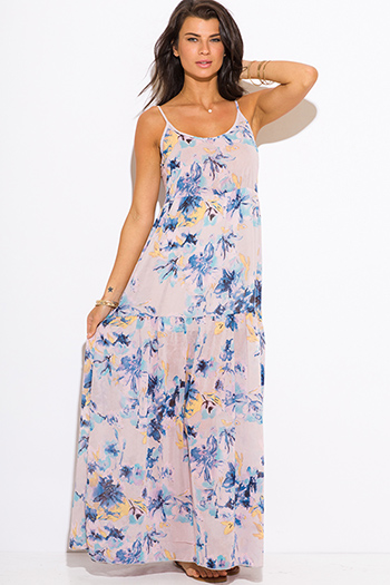 $15 - Cute cheap clothes - lilac purple floral print boho maxi sun dress