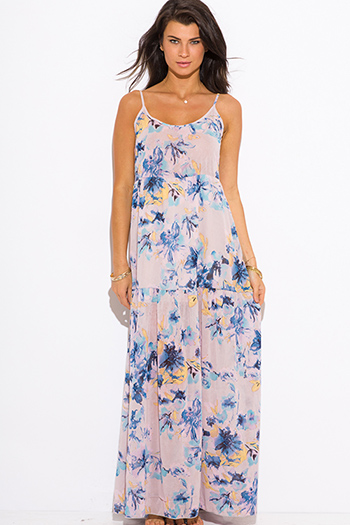 $15 - Cute cheap color purple dress - lilac purple floral print boho maxi sun dress