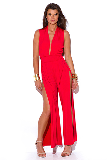 $30 - Cute cheap red yellow abstract print strapless sexy party jumpsuit 79510 - lipstick red deep v neck high slit wide leg evenign party jumpsuit
