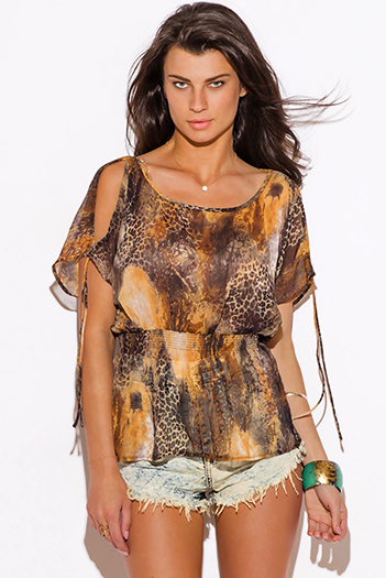 $10 - Cute cheap belted shorts attached long semi sheer skirt 20301 - brown animal print semi sheer chiffon cold shoulder sexy party top