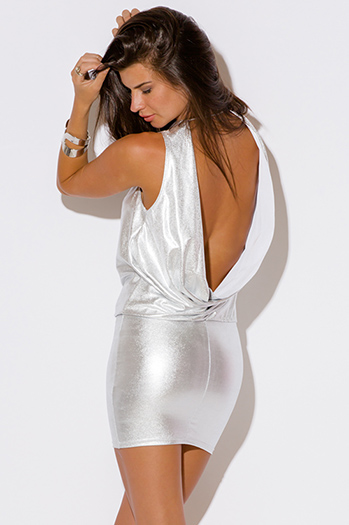 $10 - Cute cheap open back party mini dress - light silver metallic backless draped fitted sexy clubbing mini dress