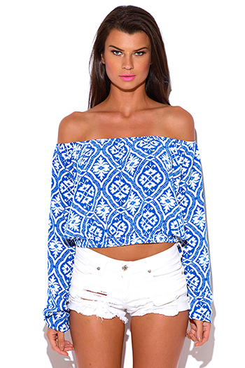 $15 - Cute cheap blue off shoulder top - plus size ethnic damask print off shoulder boho crop top