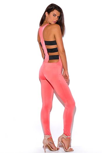 $10 - Cute cheap stripe fitted sexy club catsuit - coral cut out caged open back fitted bodycon club catsuit jumpsuit