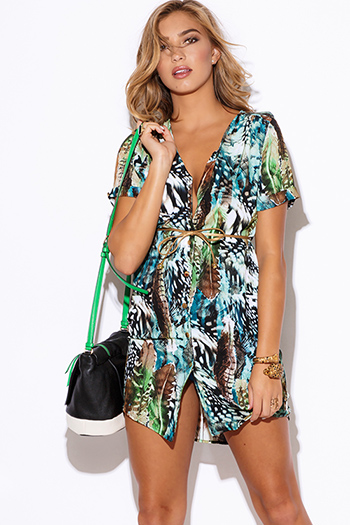 $15 - Cute cheap color animal print dress - abstract animal print golden sash short sleeve button up sexy party mini shift shirt dress