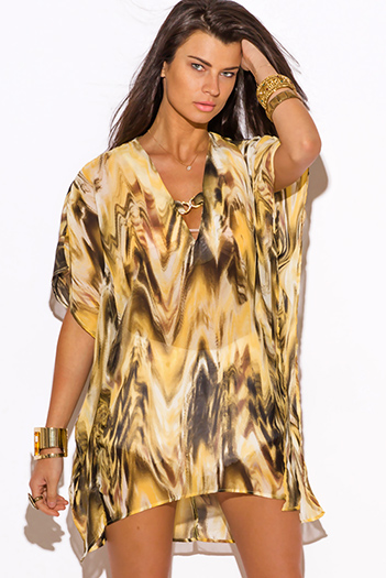 $25 - Cute cheap belted shorts attached long semi sheer skirt 20301 - abstract animal print semi sheer chiffon bejeweled caftan boho beach cover up tunic top mini dress