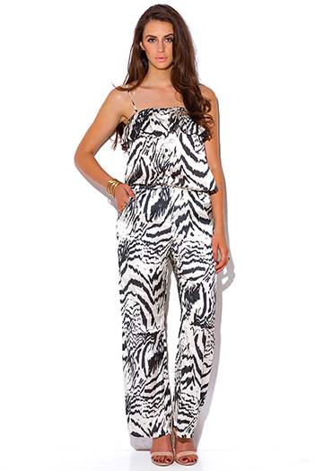 $20 - Cute cheap black evening jumpsuit - abstract black and ivory animal print silky evening sexy party jumpsuit