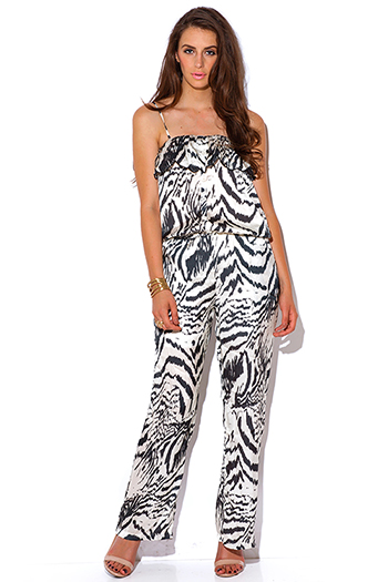 $15 - Cute cheap white low v neck animal print wide leg 2fer evening sexy party jumpsuit - abstract black and ivory animal print silky evening party jumpsuit