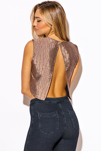 $10 - Cute cheap print sexy party top - abstract print mocha brown jacquard cut out backless crop party top
