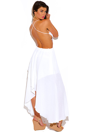 $25 - Cute cheap white crochet lace wrap cut out backless boho summer beach mini dress chiffon white sun strapless beach sheer light resort gauze tropical floral - all white gauze backless summer resort sun dress