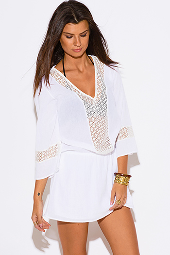 $25 - Cute cheap cheap clothes embroidered kimono sleeve boho tunic top - all white cotton gauze crochet lace trim bell sleeve boho beach cover up tunic mini dress