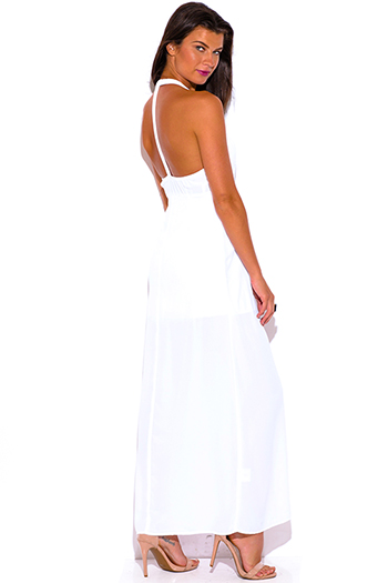 $10 - Cute cheap v neck backless open back evening maxi dress - all white T back deep v neck backless chiffon overlay evening cocktail sexy party maxi sun dress