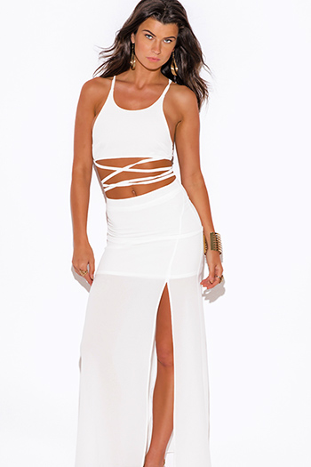 $30 - Cute cheap evening two piece set - all white high slit crepe evening cocktail sexy party maxi two piece set dress