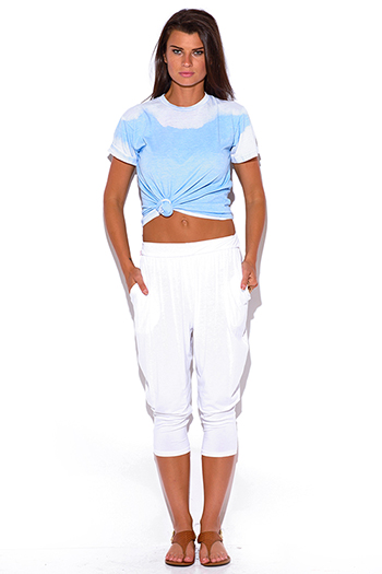 $10 - Cute cheap white pocketed tapered jersey harem capri parachute lounge pants