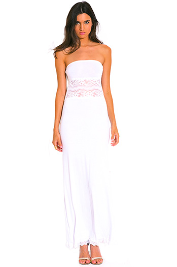 $10 - Cute cheap strapless crochet maxi dress - all white strapless lace inset strapless summer resort maxi sun dress