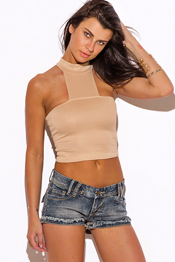 $5 - Cute cheap coral mesh inset sexy party crop top - almond beige cut out high neck fitted party crop top
