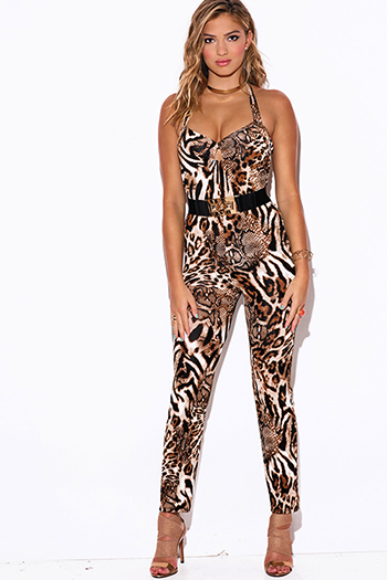 $15 - Cute cheap red yellow abstract print strapless sexy party jumpsuit 79510 - abstract leopard animal print sweetheart evening party jumpsuit