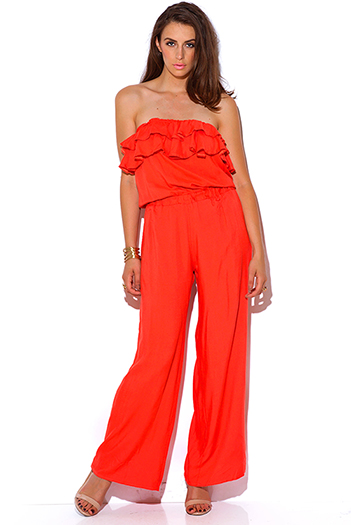 $15 - Cute cheap strapless jumpsuit - Arden B coral orange ruffle strapless wide leg summer jumpsuit