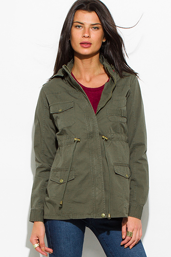 $30 - Cute cheap army olive green cotton utility cargo hoodie trench coat jacket