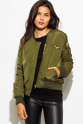 $30 - Cute cheap caramel brown faux leather ribbed bomber moto jacket - army olive green military zip up pocketed patch embroidered puff bomber jacket