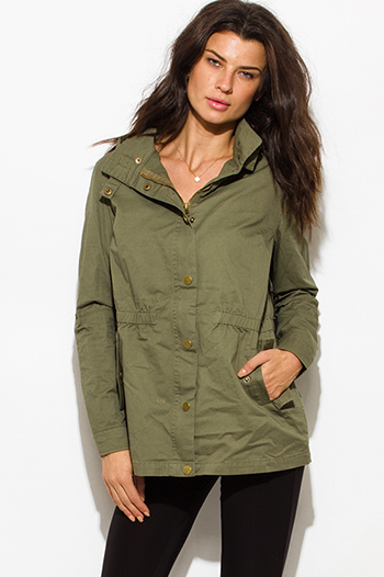 $30 - Cute cheap clothes - army olive green cotton utility cargo hoodie trench coat jacket