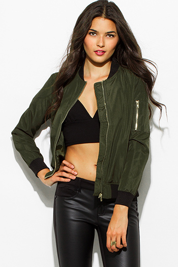 $20 - Cute cheap white chiffon contrast long sleeve military zip up bomber jacket top - army olive green zip up banded cropped bomber jacket top