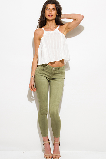 $25 - Cute cheap hart blue washed denim ripped distressed mid rise fitted crop capri skinny jeans - army sage green mid rise skinny fit ankle jeans