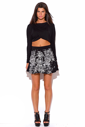 $15 - Cute cheap black wolf graphic print muscle tank top - baroque graphic print black skater mini skirt