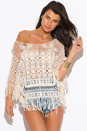 $15 - Cute cheap cute junior off shoulder denim jumpsuit - beige crochet see through fringe off shoulder boho beach cover up top