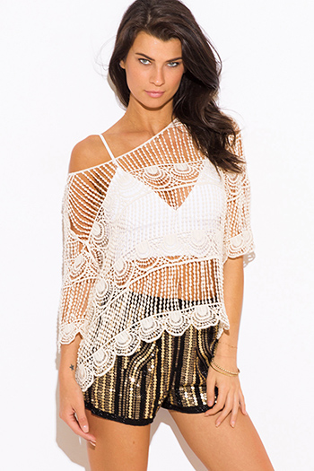 $15 - Cute cheap cute junior off shoulder denim jumpsuit - beige crochet see through off shoulder boho beach cover up top