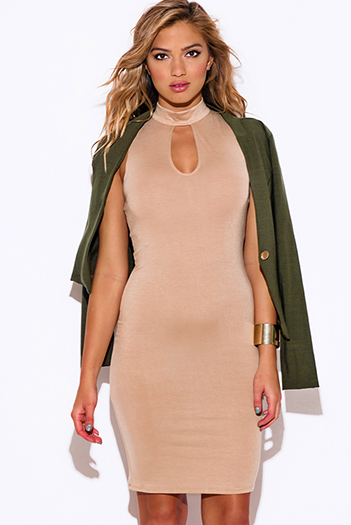 $15 - Cute cheap summer dress - beige cut out open back high neck fitted sexy club midi dress