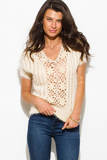 $15 - Cute cheap crochet back red knit sleeveless sweater - beige fuzzy knit crochet ribbed sweater top