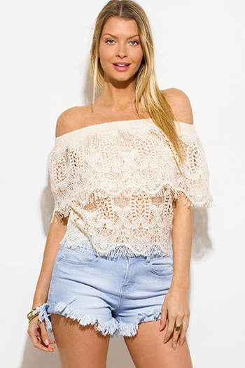 $15 - Cute cheap light yellow halter v neck racer back boho beach cover up top - beige see through crochet lace off shoulder boho beach cover up top
