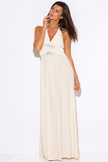 $10 - Cute cheap wrap evening maxi dress - beige v neck bejeweled ruched empire waist halter formal evening sexy party maxi dress